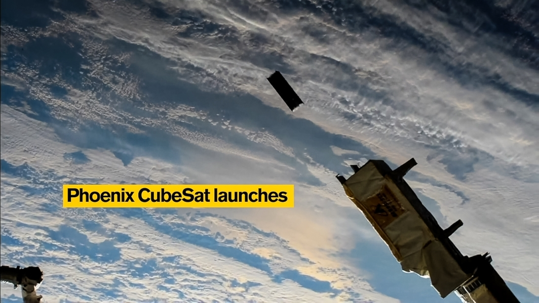 A screenshot shows a cubesat being launched into space