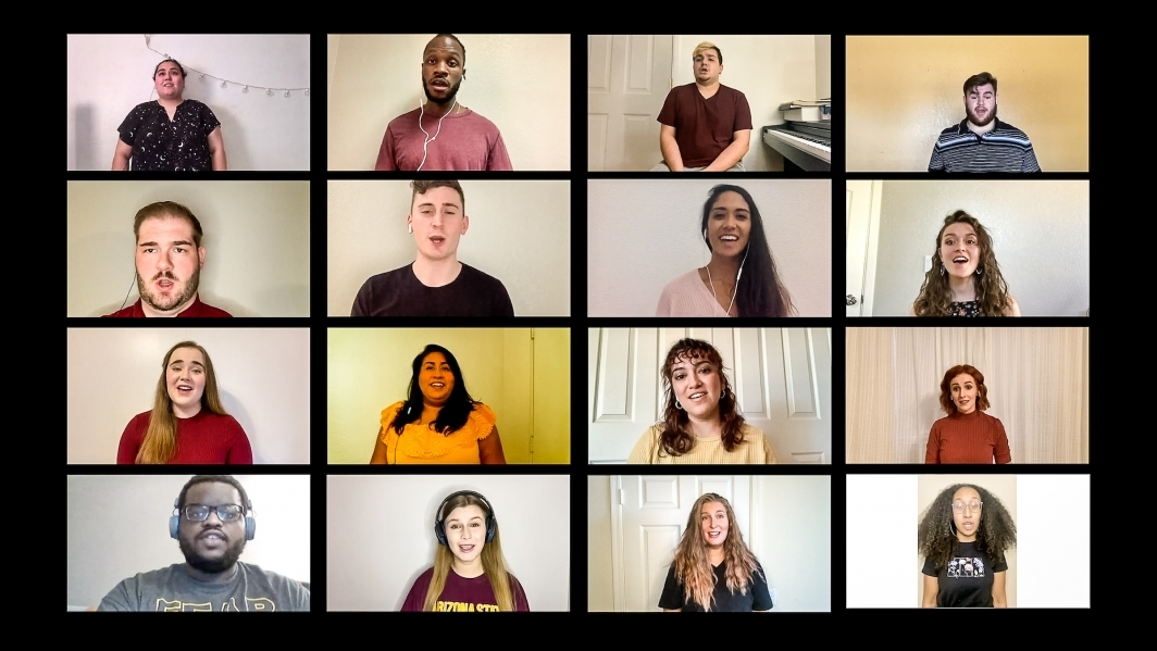 A collage screen of people singing the ASU alma mater