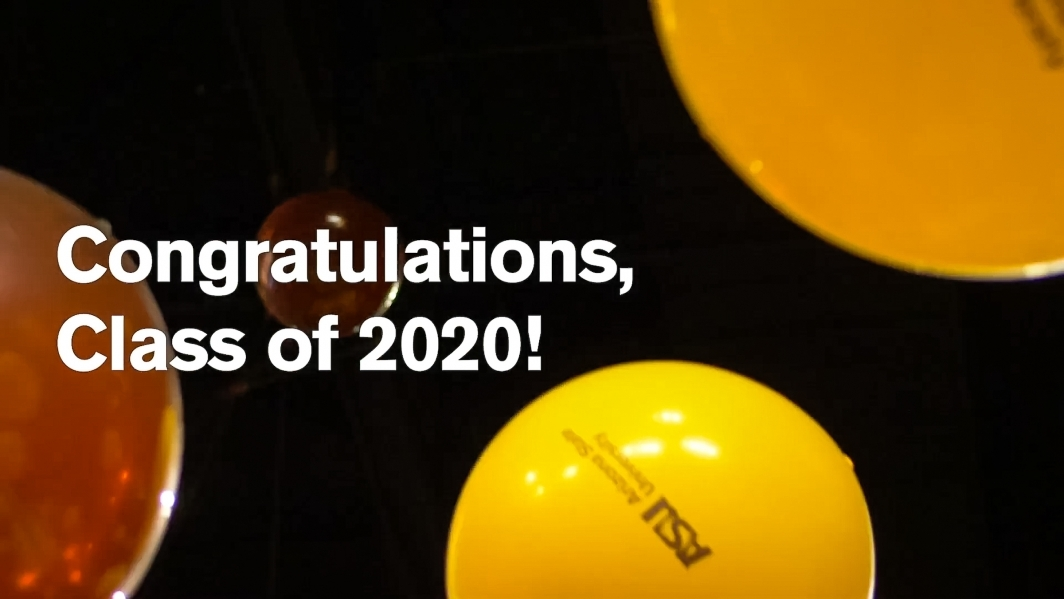 Screenshot from ASU commencement video with balloons