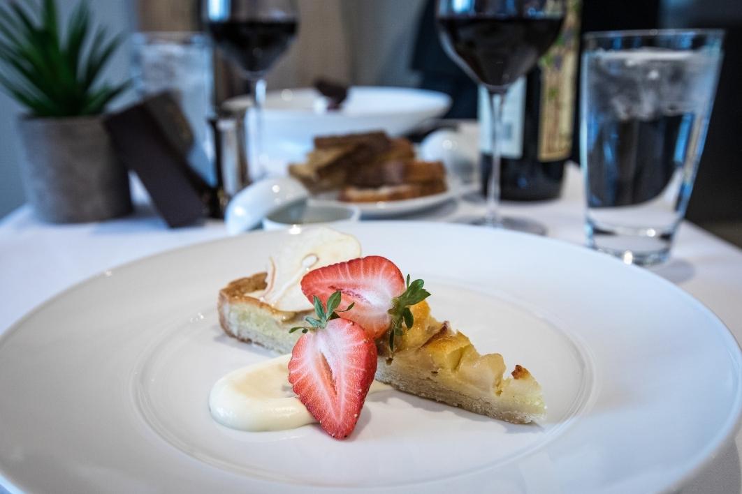 A closeup of a fancy dessert slice