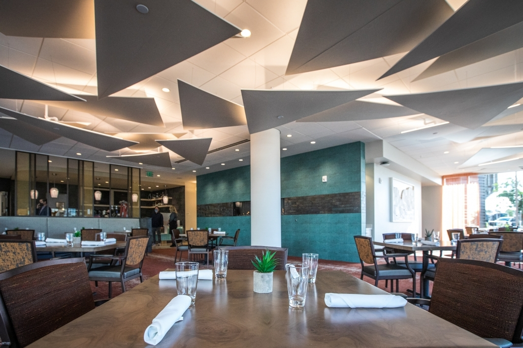 The Dolce Vita Bistro dining room at the new Mirabella senior living high-rise at ASU