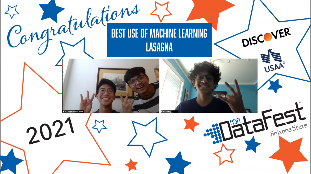 Team Lasagna wins Best Use of Machine Learning award at ASA DataFest 2021.