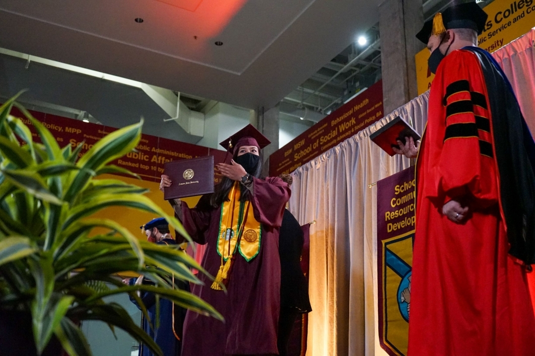 Watts College of Public Service and Community Solutions, graduate. diploma, cover, convocation, spring 2021