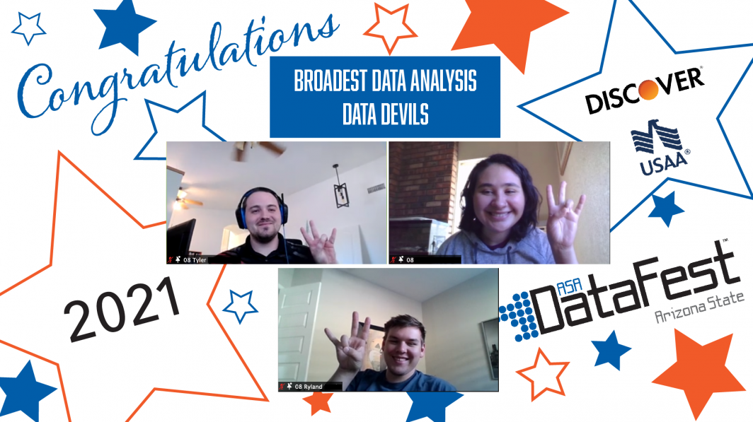 Team Data Devils wins Broadest Data Analysis award at ASA DataFest 2021.