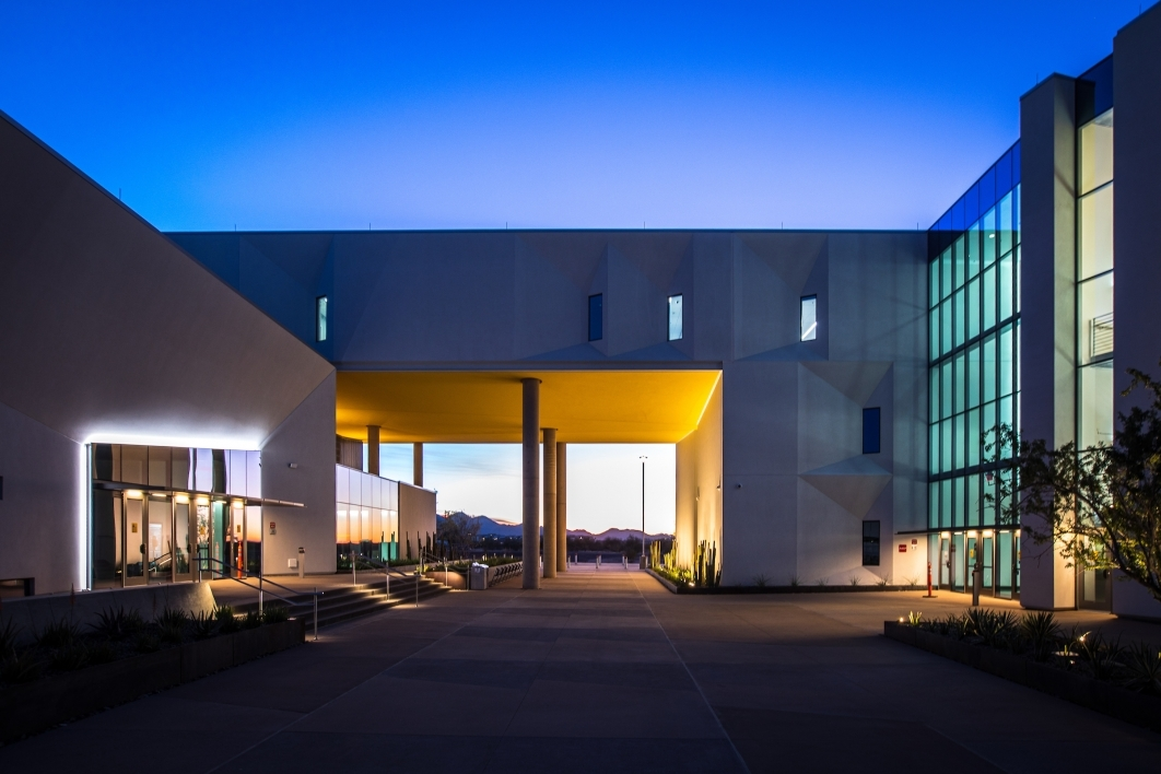 Exterior of the new Health Futures Center at sunset