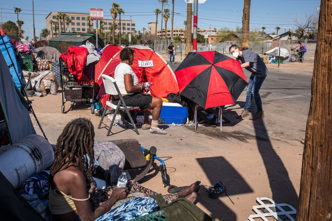 A view of a tent city and its homeless population