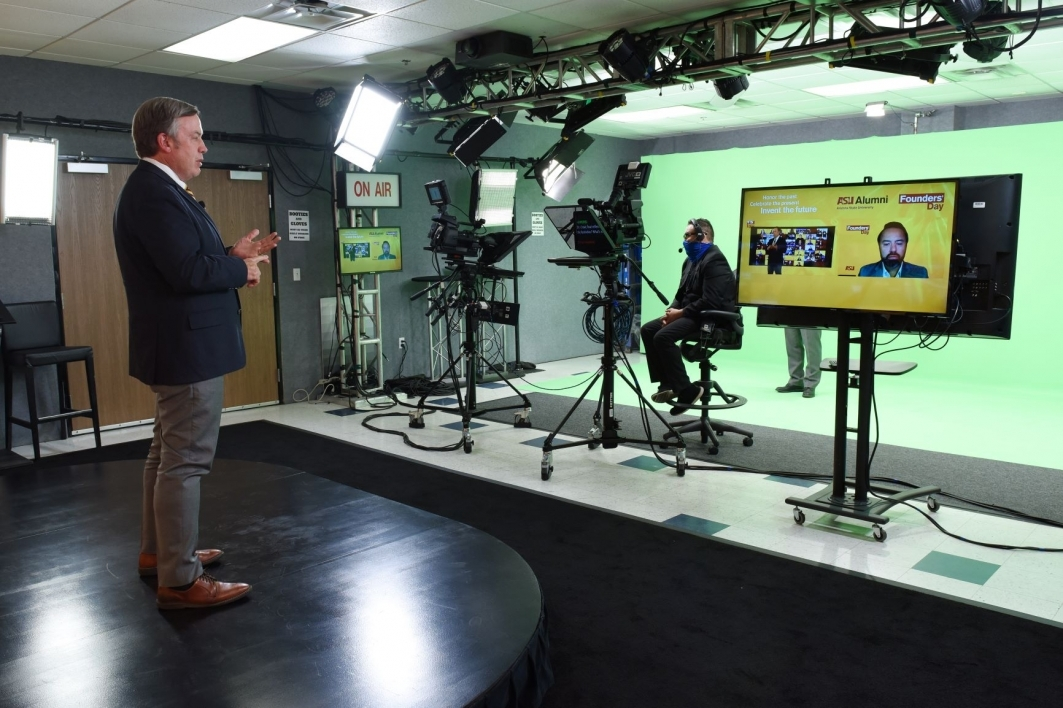 On set of the Founders' Day virtual event with President Michael M. Crow