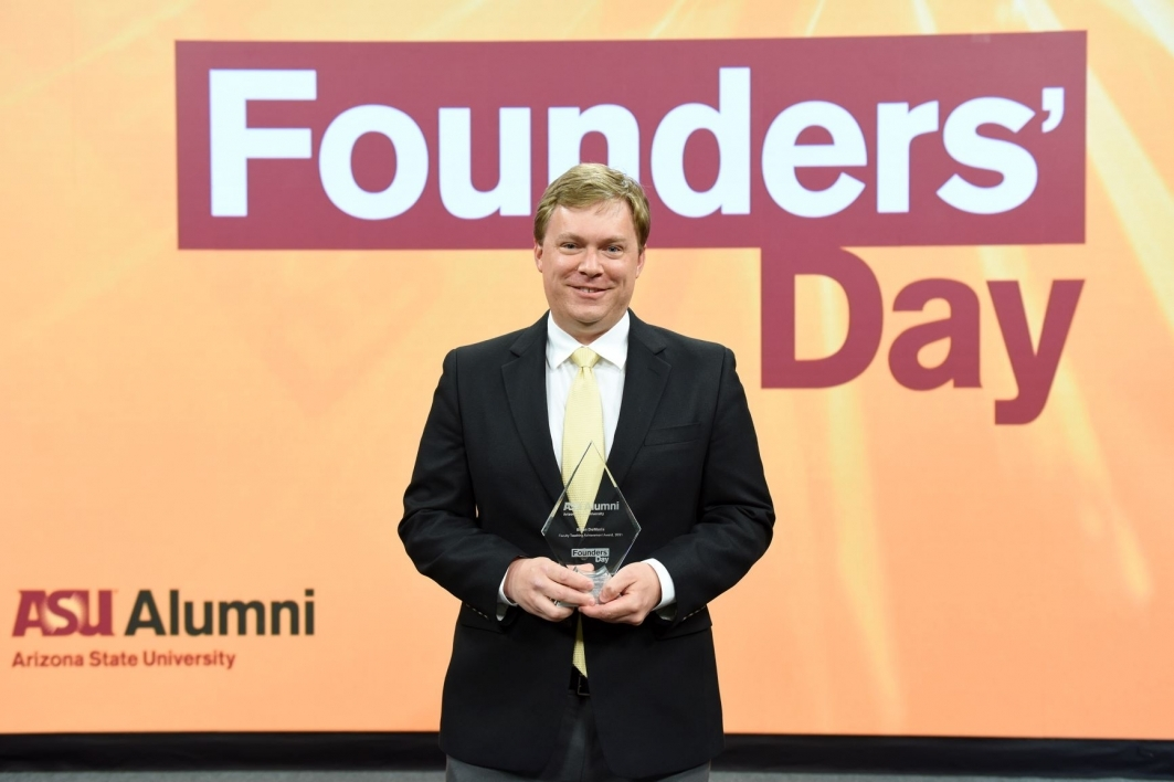 Brian DeMaris, an associate professor and artistic director of music theatre and opera at ASU, was awarded the Faculty Teaching Achievement Award.