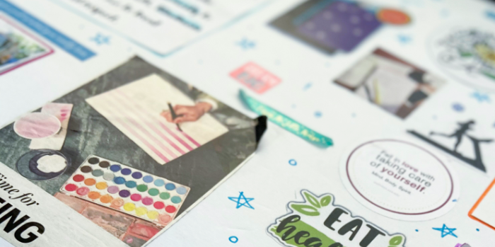 Close-up of a vision board page