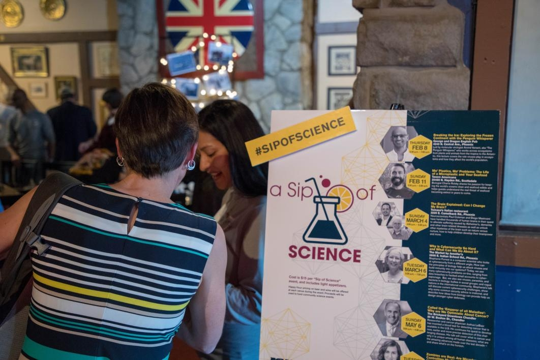 "Guests arrive at the first ""Sip of Science"" event hosted by ASU's Biodesign Institute"