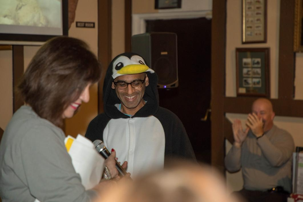 Biodesign's Arvind Varsani dressed up in a penguin suit for the crowd