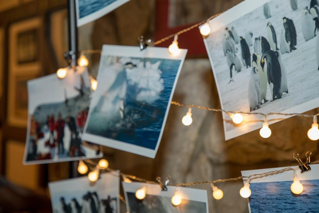 The event space featured photos from Arvind Varsani's research trips to Antarctica