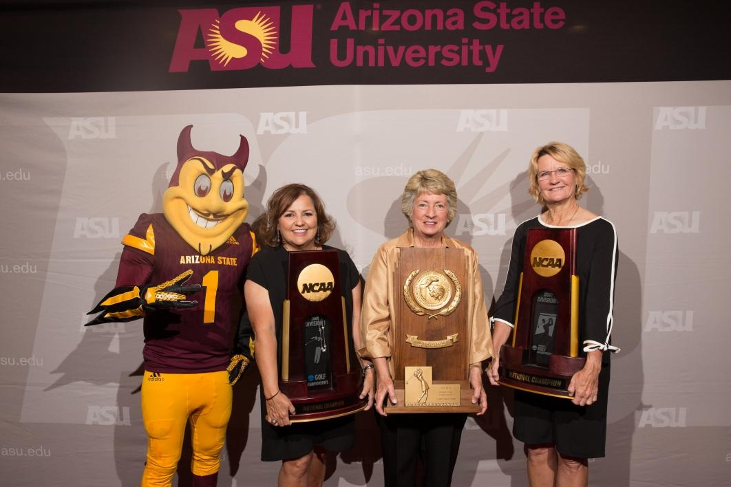 ASU womens golf coaches with Sparky