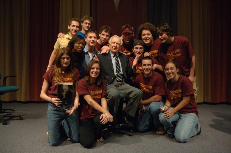 group photo of Cronkite with students