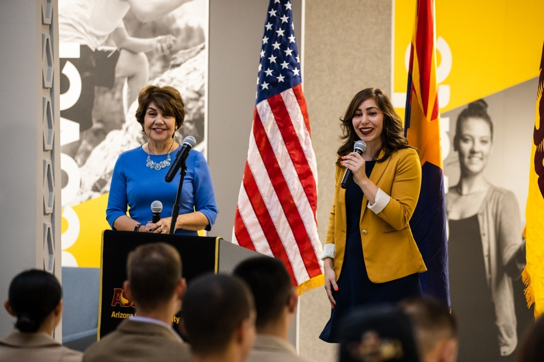Lisa Fernandez, chief of staff for Phoenix Mayor Kate Gallego, speakers alongside her mother, Arizona House Minority Leader Charlene Fernandez during The College's Salute to Service event Nov. 8.