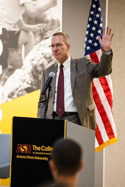 Pat Tillman Veterans Center Director and retired Navy Captain Steven Borden speaks about his time at ASU and in the US Navy during The College's Salute to Service event Nov. 8.