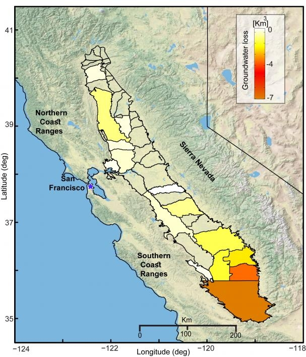 Cumulative groundwater loss over three years across the California's Central Valley