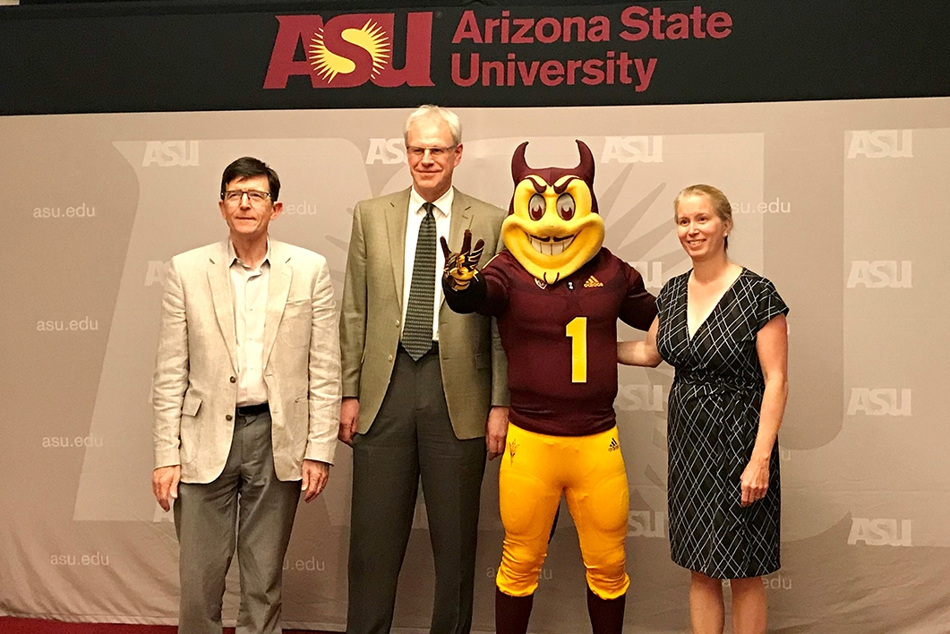 Professors Woodbury, Gould and Jones with Sparky