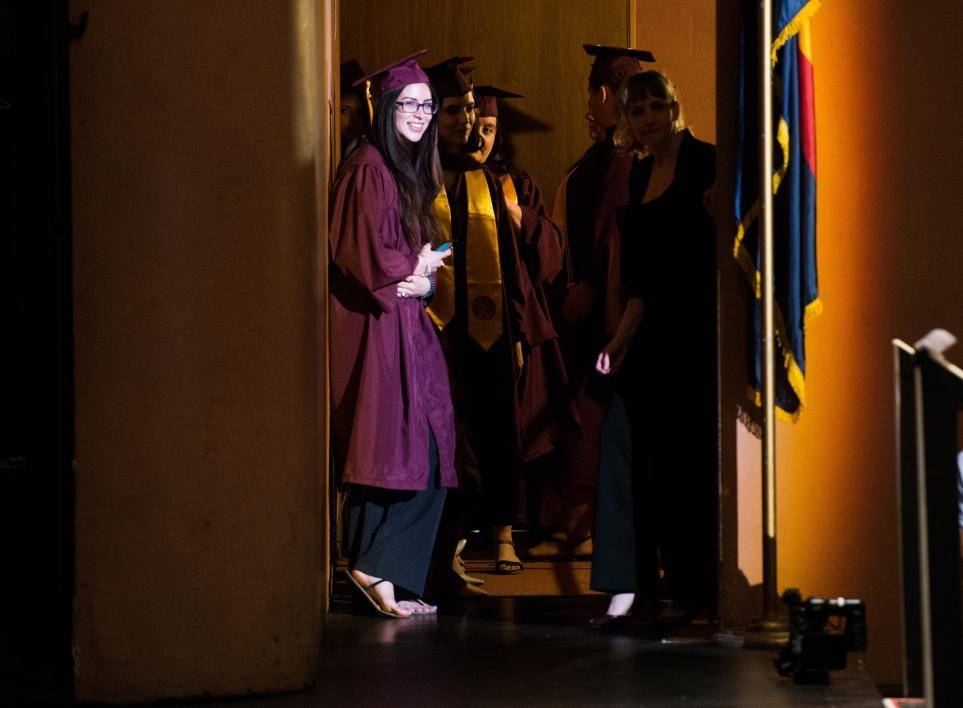 grads waiting backstage at ASU Gammage