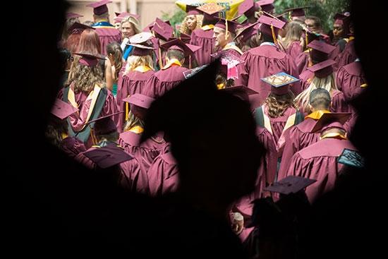 silhouette of graduate
