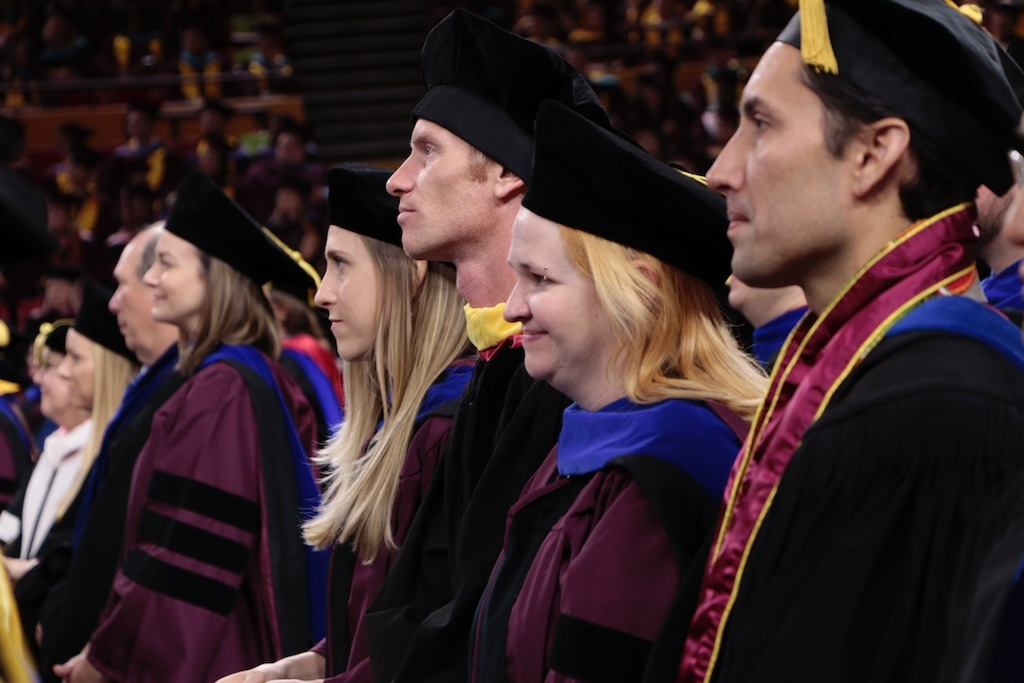 Wendy Caldwell stands with math colleagues during ASU Graduate Commencement