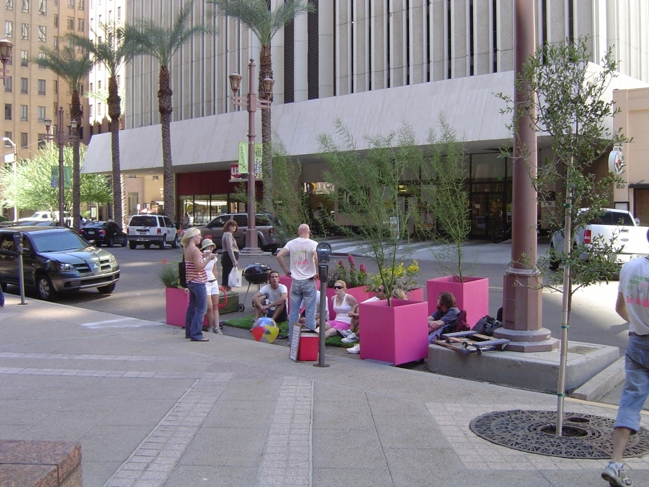 Photo of parklet created by ASU ASLA students for Park(ing) Day