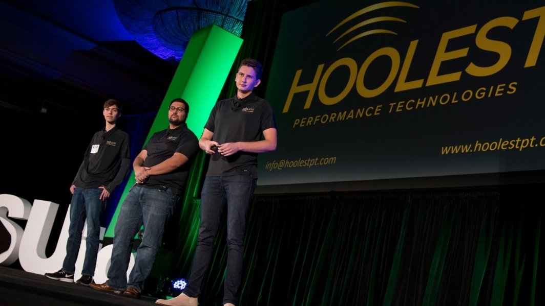 Hoolest co-founders (left to right) John Patterson, Sami Mian and Nick Hool pitch their startup at the 2018 Arizona State University Innovation Open competition.