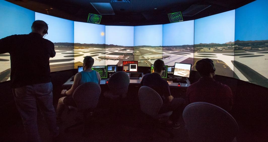 An air-traffic control simulator at ASU.