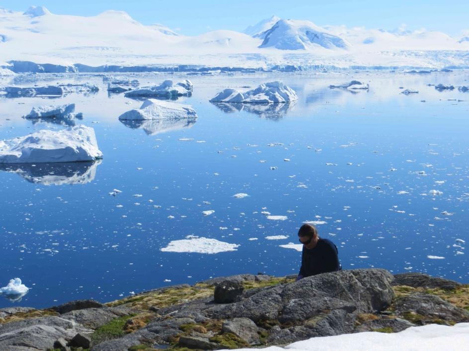 collecting samples in Antarctica