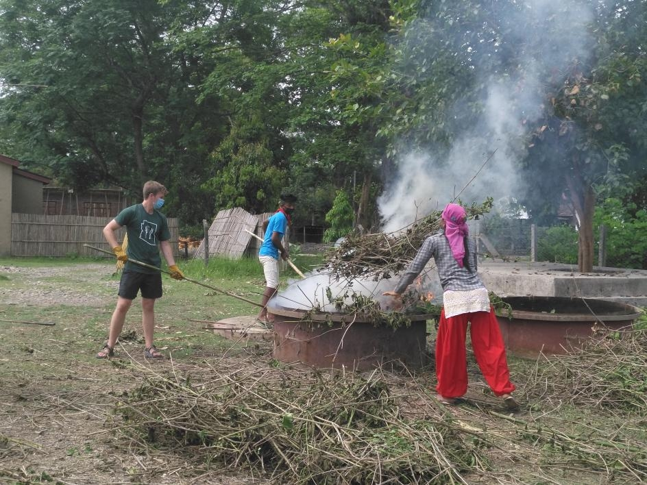 Biochar process in action in Nepal Global