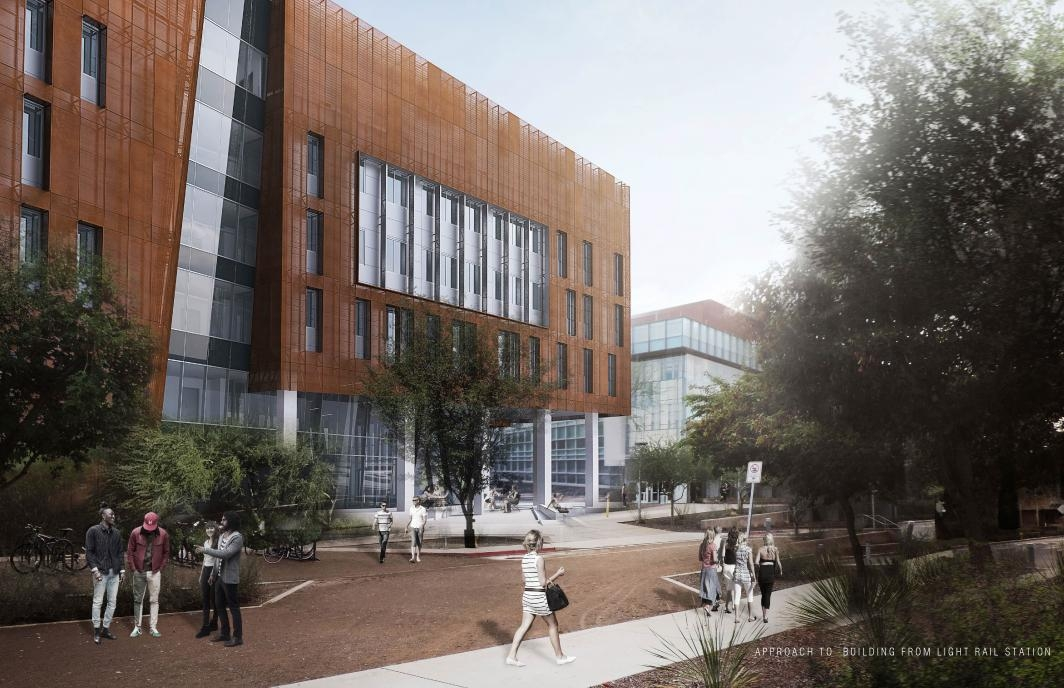 Rendering of a completed Biodesign C from the light rail station