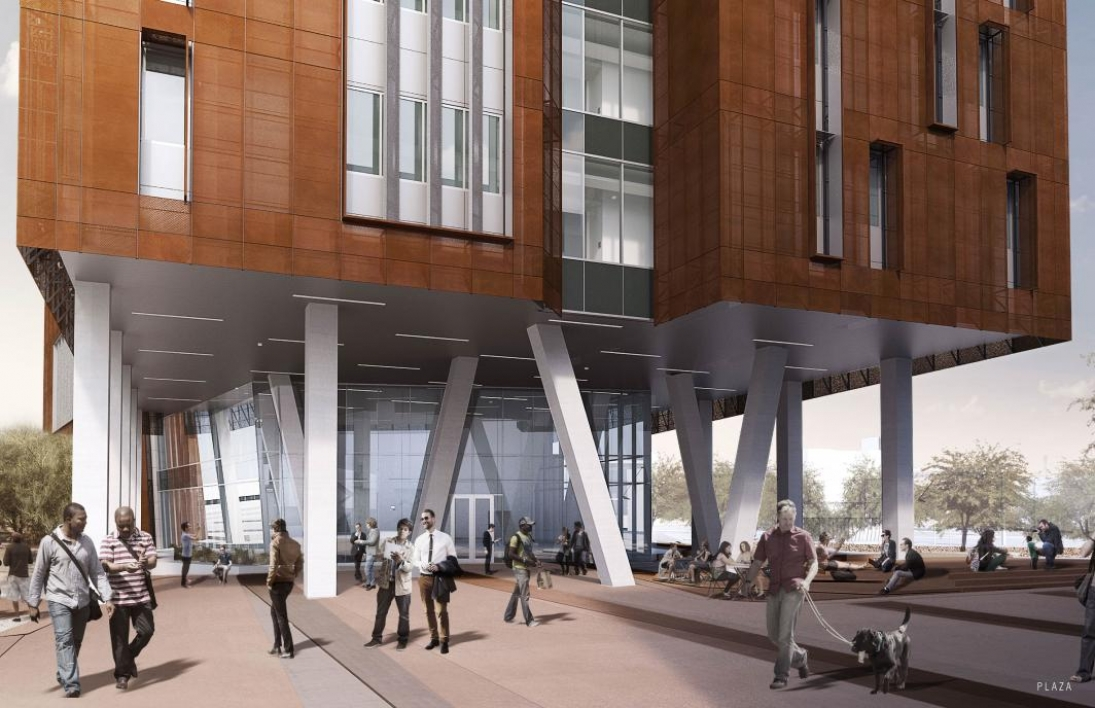 Rendering of plaza between Biodesign B and Biodesign C glass lobby