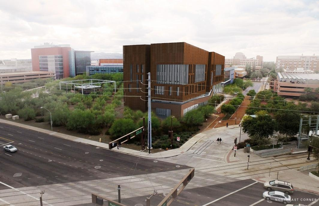 Rendering of Biodesign C and Tempe's busy Rural Road from the northeast