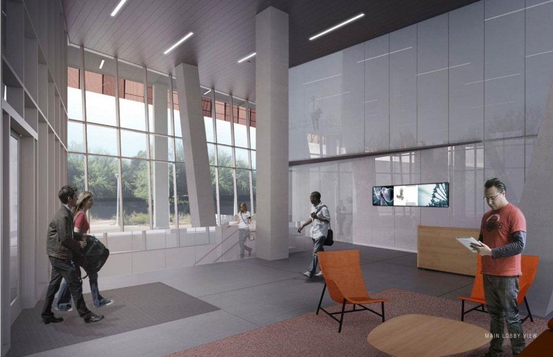 Rendering of a completed Biodesign C ground floor lobby.