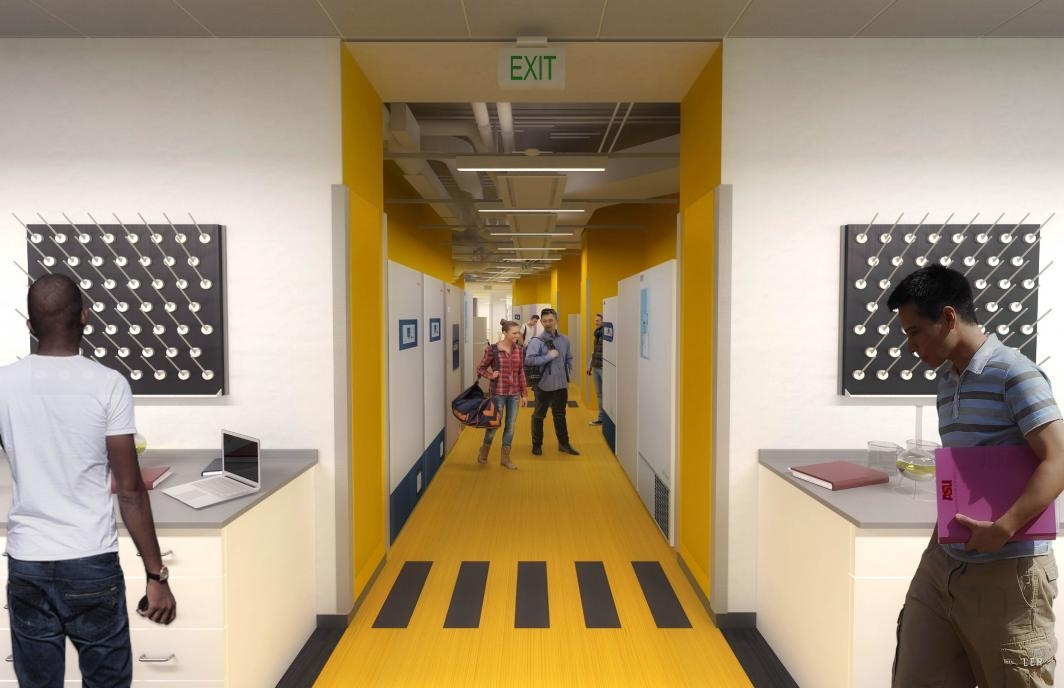 Rendering of a completed Biodesign C central corridor