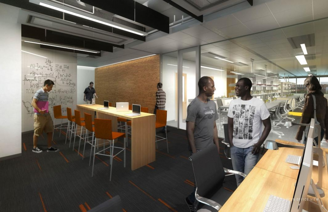 Rendering of a completed office space and adjoining lab space