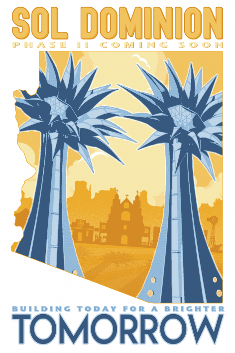Poster-style illustration of two colossal solar towers shaped like sunflowers.