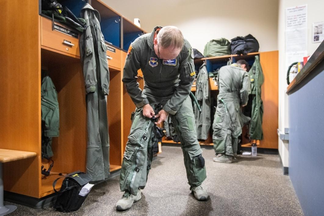 Pilot getting dressed