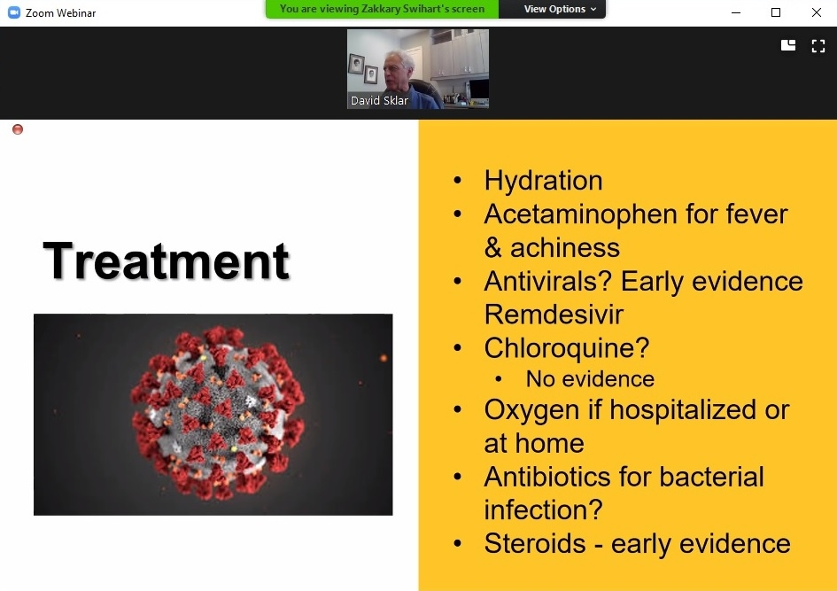 screenshot of slide from College of Health Solutions COVID-19 presentation