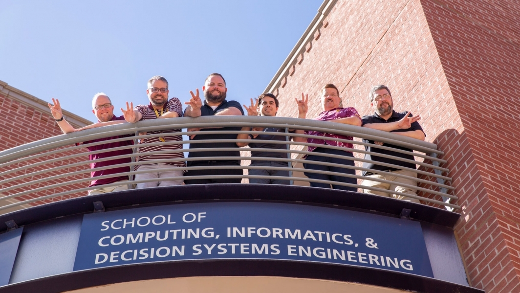 Members of the School of Computing, Informatics, and Decision Systems Engineering information technology team, from left to right: Lincoln Slade, Peter Templeton, Nicholas Beck, Marc Shireman, Brint MacMillan and Fred Kreller.