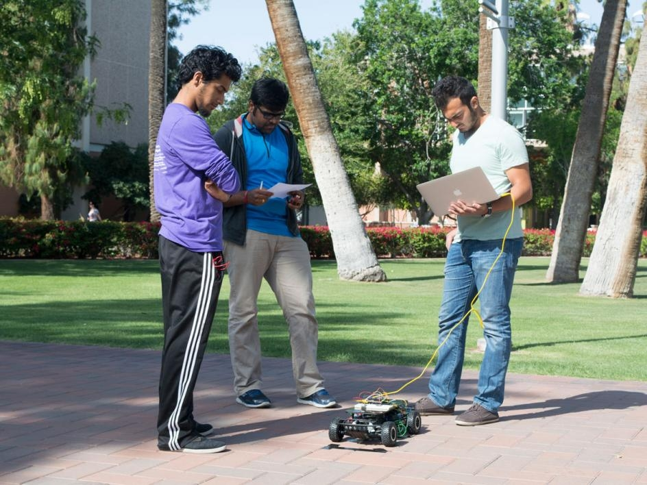 In the second demonstration, students had to use GPS and a magnetometer to get their cars to navigate themselves to a given destination. Photographer: Mihir Bhatt/ASU