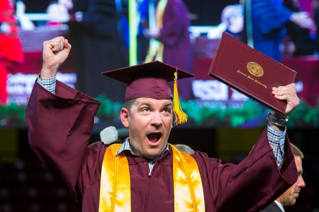 ASU graduate celebrating