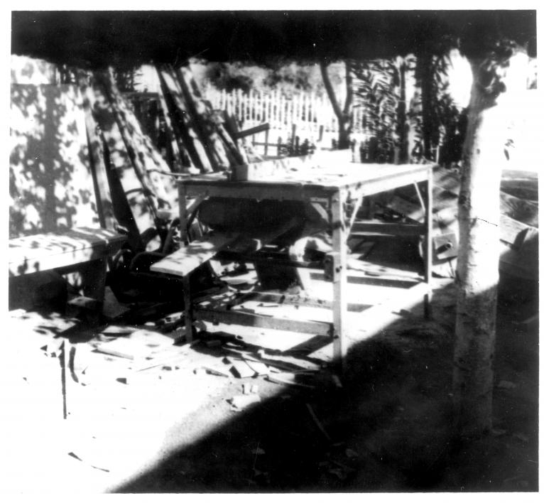 black and white photo of a table saw