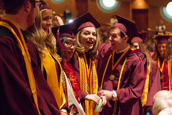 student being honored at convocation