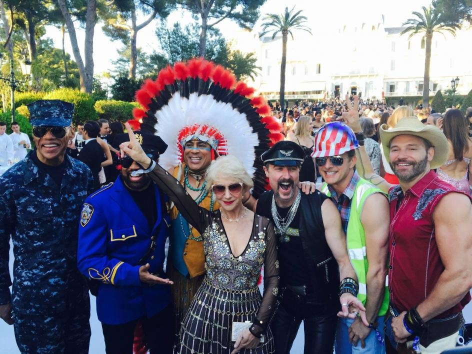 Eric Anzalone and members of Village People pose with Dame Helen Mirren in Antibes, France during Cannes 2016. / Courtesy photo