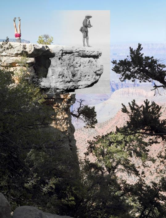 A vintage photo overlaid on a modern photo of the Grand Canyon