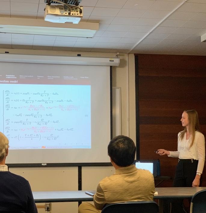 Lauren Dickman giving talk at math bio seminar