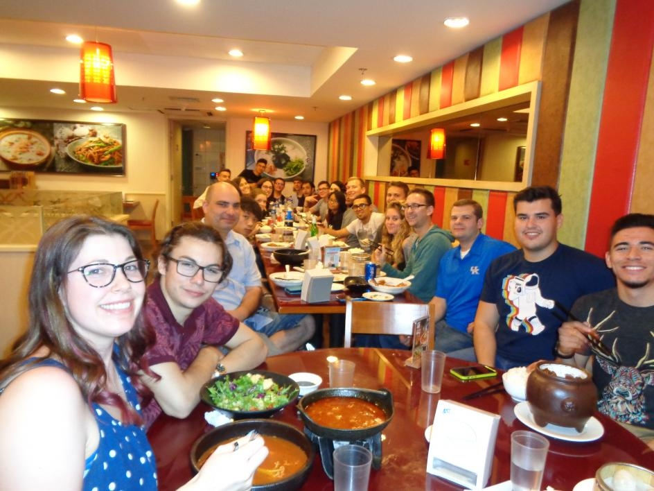 ASU students dining as a group in Beijing