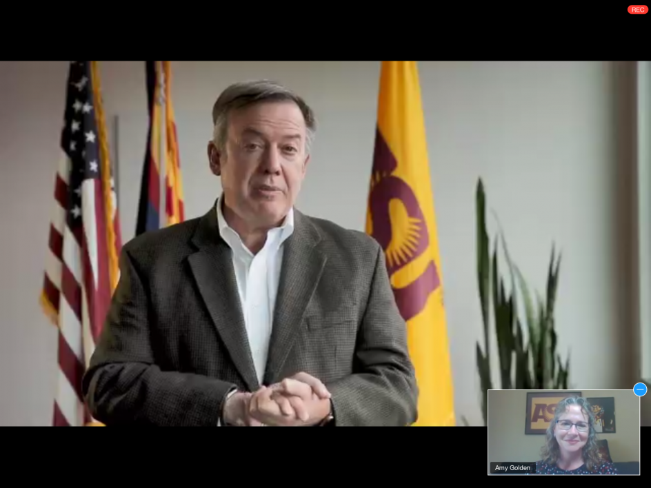 Screenshot of a video welcome by ASU President Crow
