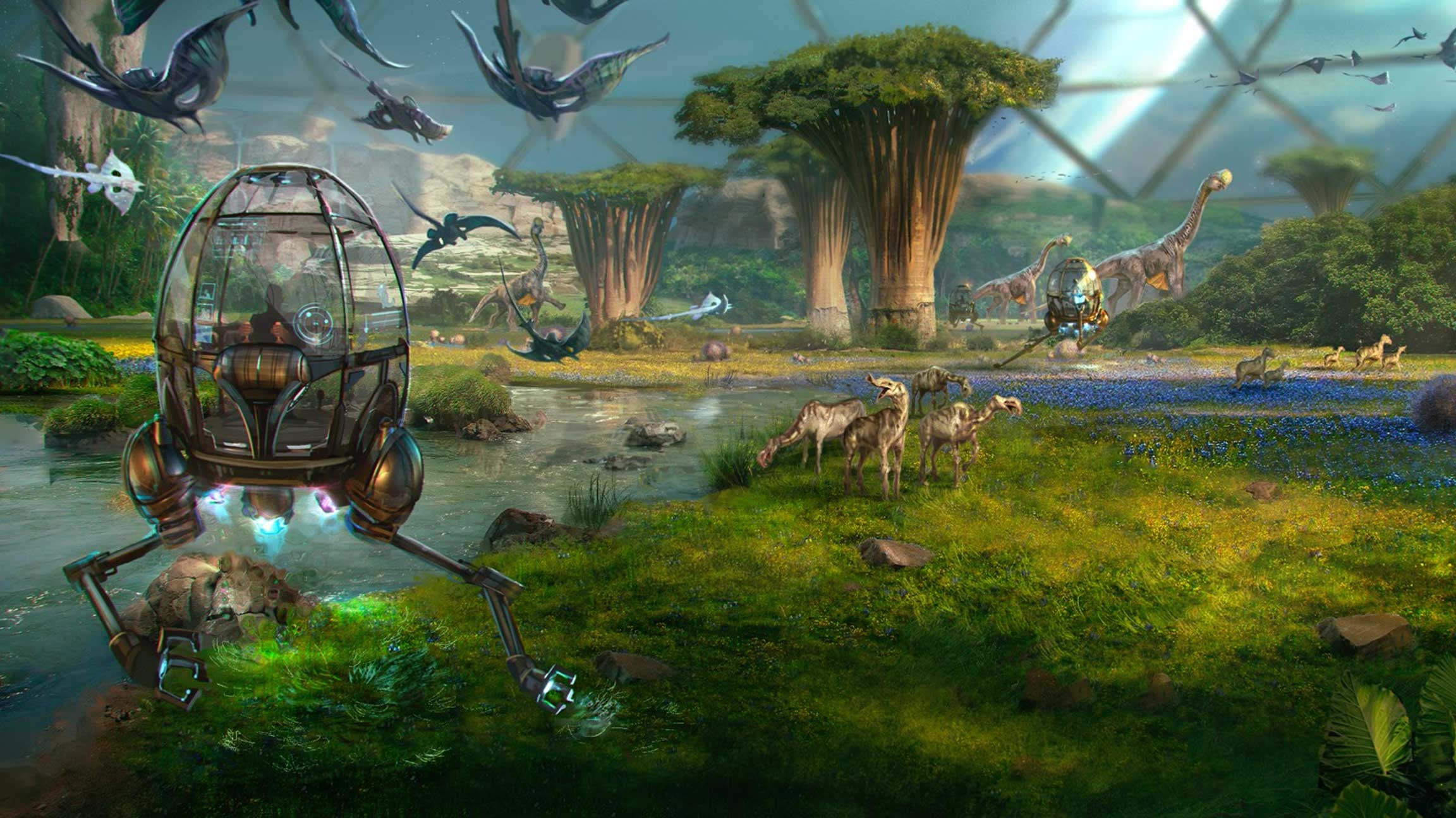 VR users travel around an Alien Zoo landscape in clear pods
